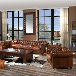Tufted Leather Chesterfield Couch Sofa & Love Seat