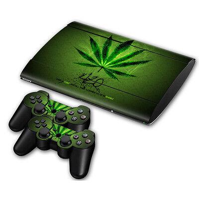 PS3 PlayStation 3 Super Slim Skin Design Aufkleber Schutzfolie Set - Cannabis...