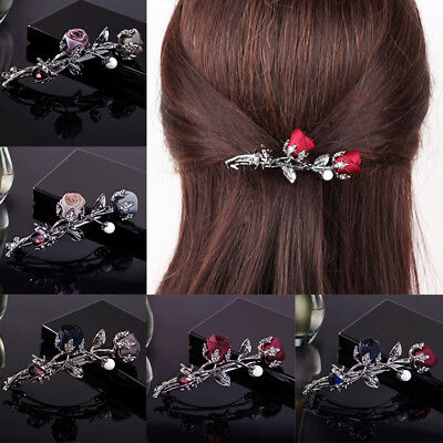 Women Hair Accessories Rose Flower Crystal Pearl Barrette Hairpin Hair Clip Gift (Hair Flower Clips)