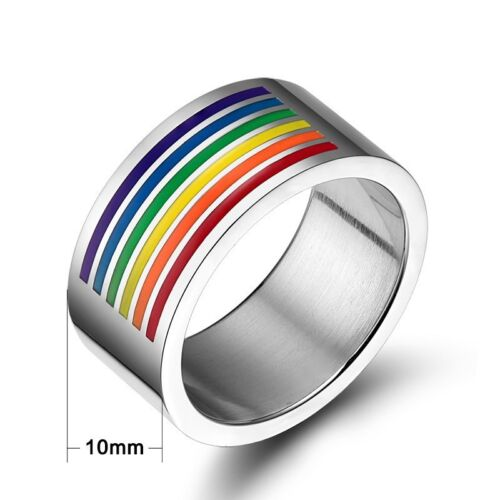 stainless steel rainbow ring pride size 10 beautiful model