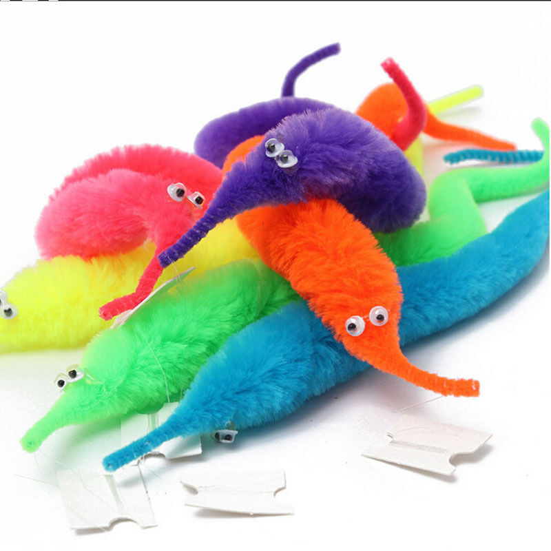 Lot of 10 Pcs Magic Twisty Fuzzy Worm Wiggle Moving Kids Trick Toy Caterpillar
