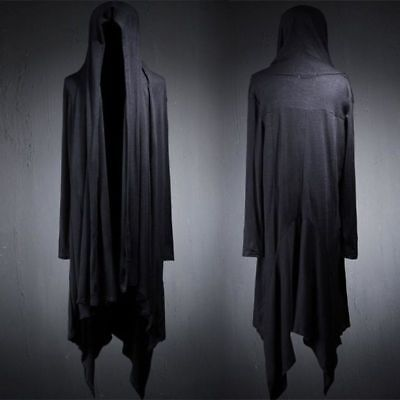 Fashion Mens Long Hooded Coats Punk Cardigan Dark Cape Gothic Loose Cotton Cloak](Gothic Coats Mens)