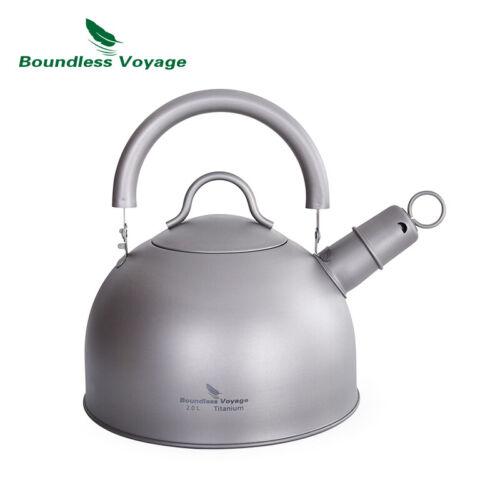 2L Titanium Whistling Kettle Lightweight Camping Water Jug Big Capacity Tea Pot