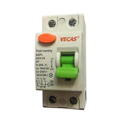 FI-Schutzschalter Fehlerstromschutzschalter Automat 2-polig, 25A 30mA