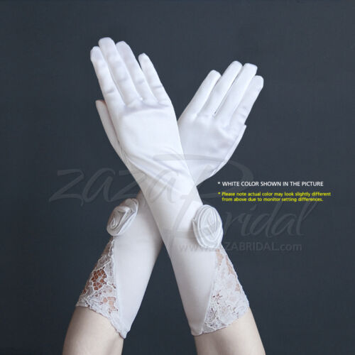 """GORGEOUS STRETCH SATIN GLOVES WITH FLOWER PATTERN LACE AND 2"""" ROSETTE FLOWER"""