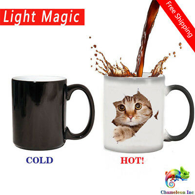 Cute Cat Mug Heat Reveal Mug Ceramic Color Changing Coffee Mugs Magic Tea Cup