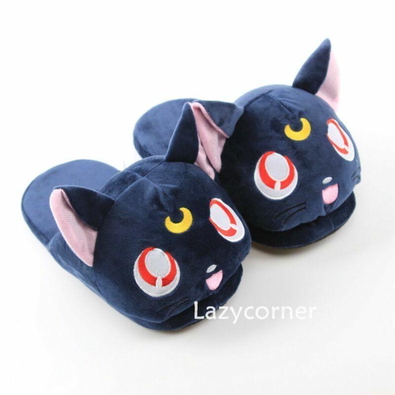 Anime Sailor Moon Dark Blue Luna Plush Slipper Winter Warm Shoes Cute Gift