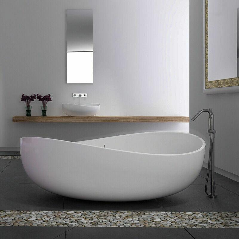 Modern Bathroom Art Oval Free Standing Stone Resin Soaking Bathtub Glossy White