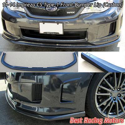CS Type-1 Style Front Bumper Lip (Carbon) Fits 11-14 Subaru Impreza WRX STi