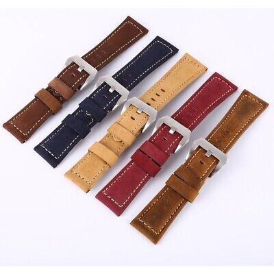 Herren Echtes Leder Uhrenarmband Breitband Uhrband Hochwertiges Leder 18-26mm DE
