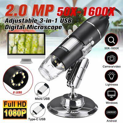 50x-1600x Zoom 3in1 Hd Usb Microscope Digital Magnifier Endoscope Video Camera
