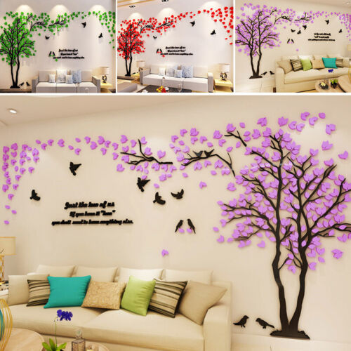 Home Decoration - 3D Flower Tree Wall Sticker Acrylic Decal Mural Bedroom Living Room Home Decor