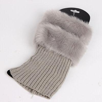 Women Fluffy Faux Fur Cuffs Boot Toppers Leg Warmers Fashion Lady Knitted Socks (Faux Fur Boot Cuffs)