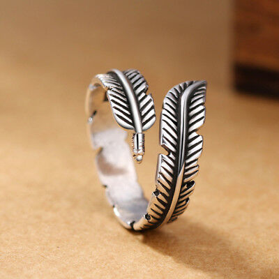 1PCS Vintage Open Adjustable Wrap Around Feather Ladies Thumb Rings Band Jewelry - Wrap Rings