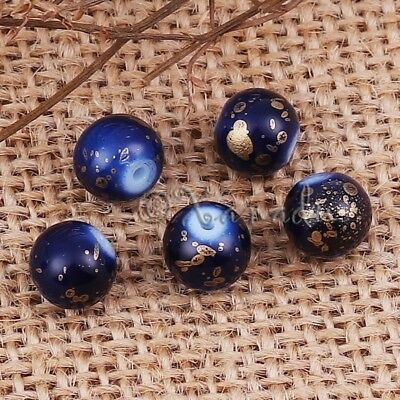 Blau und Gold Tinte Punkte Großhandel 8mm Rund Glasperlen G2564 - 20,50 oder (Blau Und Gold Perlen)