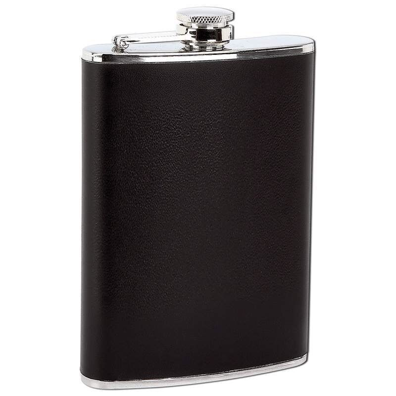 FLASK 8oz Black Faux Leather Wrap Stainless Steel Attached Screw Cap Hip Pocket