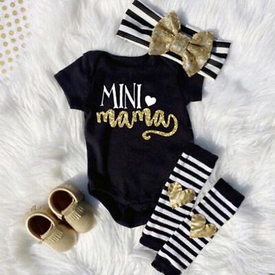 4Pcs Newborn Infant Baby Girl Outfits Clothes Romper Jumpsuit Bodysuit+Pants Set