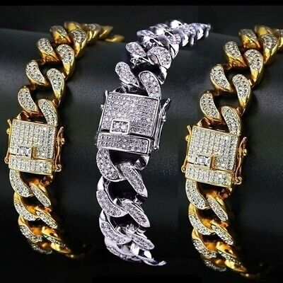 24K Gold Plated Cuban Miami Chain Link Stainless Steel Men Womens Bracelet