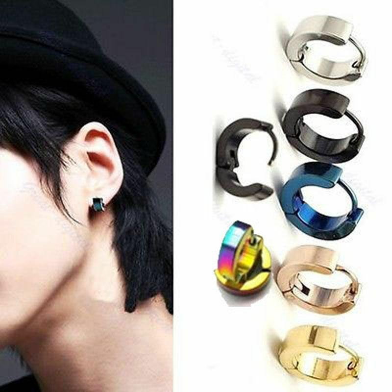 US FAST Womens Mens Punk Stainless Steel Hoop Loop Huggie Ear Stud Earrings Earrings