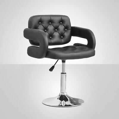 1 × Bar Stool Bar Chair PU Height Adjustable Swivel Steel Gas Lift Armrest Black