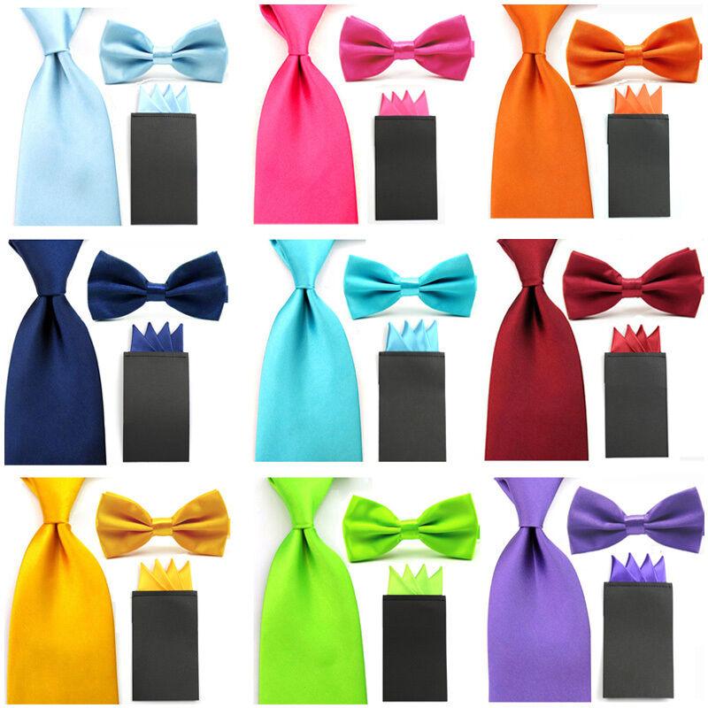 Men Solid Satin Bowtie 8cm Neck Tie Pre-folded 4 Point Hanky Pocket Square Set
