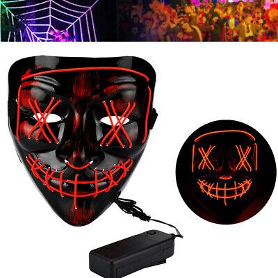 4-Modes Halloween Scary Mask Cosplay Led Light Up Costume Mask The Purge Movie - Halloween 4 Maske