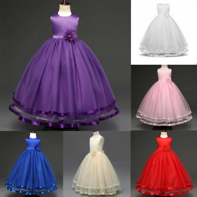 Kids Flower Girl Bow Princess Dress for Girls Party Wedding Bridesmaid Gown - Dresses For Girls Wedding