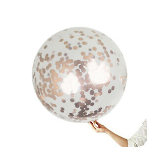 36-inch Giant Rose Gold Confetti Party Balloons 8ct