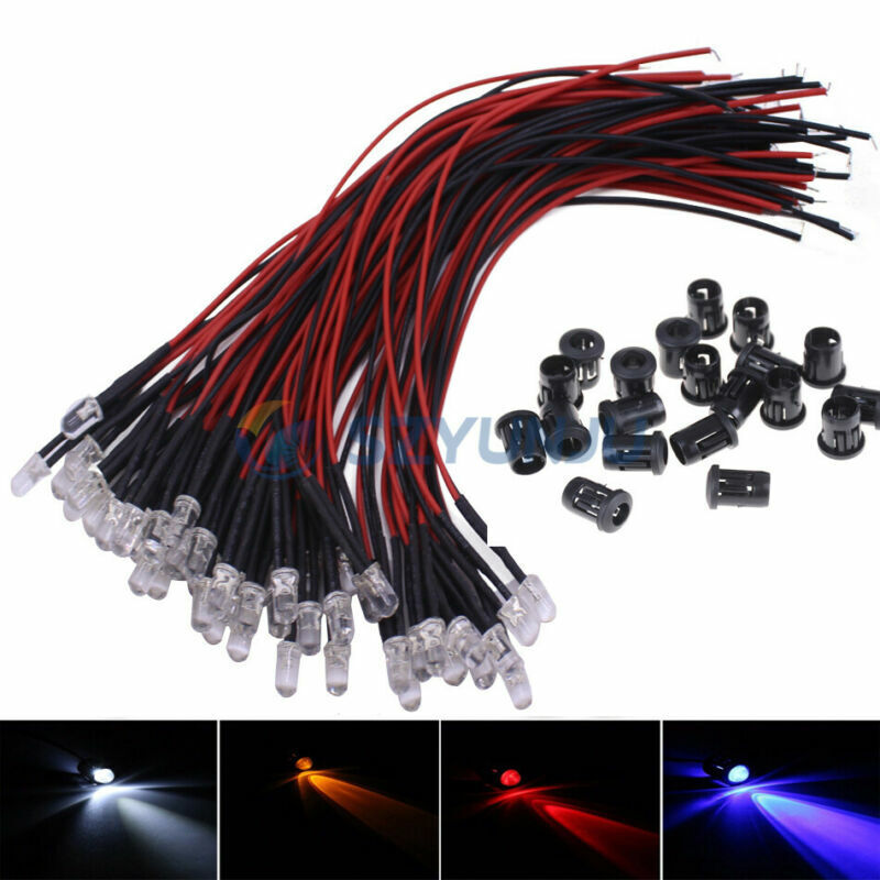 5mm 5V 12V 24V 2Pin Round Pre-wired water Clear led with Plastic Holder