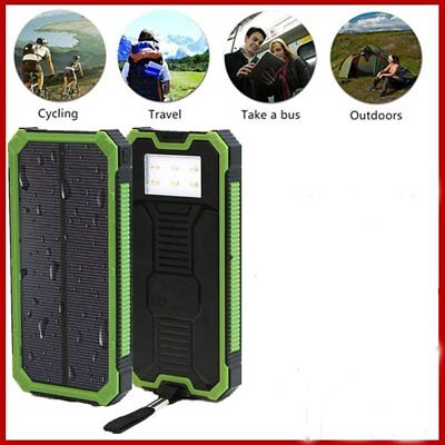 20000mah Dual-USB Waterproof Solar Power Bank Battery Charger for Cubicle Phone US