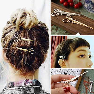 2PCS Fashion Hair Clip Hair Claw Accessories Scissors Shape Hairpin Headpiece