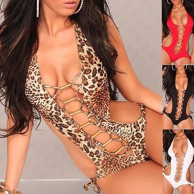 LACED UP Plunge One Piece Monokini Swimwear Swimsuit - S/M/L/XL