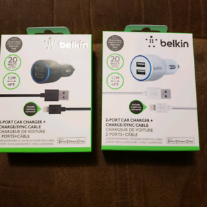 Belkin 2 port CAR CHARGER with Cable set High quaility  sealed