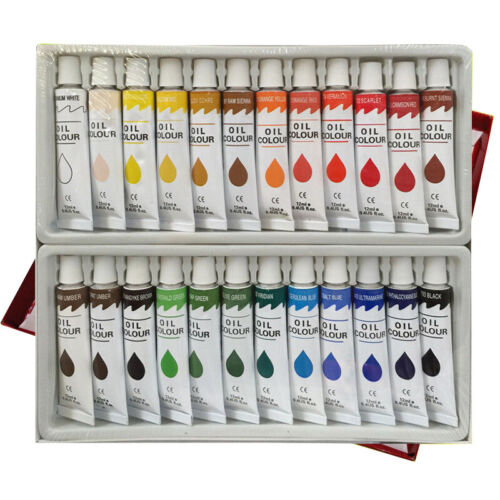 24 pc OIL Paint Set Professional Artist Color Painting 12ml Tubes