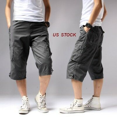 - US Mens Capri Short Pants Baggy Cargo Rope Long Camo Beach/Work Pants Cotton