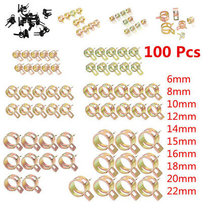 100 Spring Clip Water Pipe Fuel Hose Air Tube Clamp Fastener 6-22mm 10Size Solid