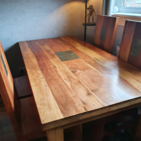 Large family dining table & 4 chairs.