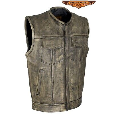 Mens Club Vest Distressed Brown Leather Motorcycle Biker SOA Style New With Tags
