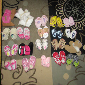 21 pair of baby shoes (newborn-size 2)