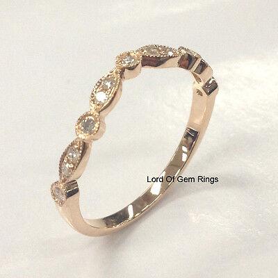 - Matching Wedding Band!Diamond Anniversary Ring,14K Rose Gold,Curved Art Deco