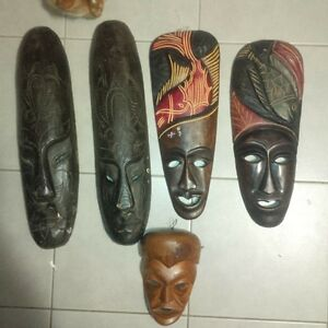 authentic wooden wall masks