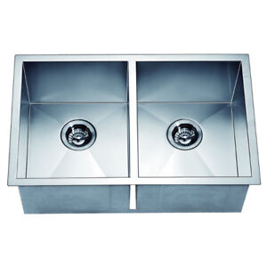 Kitchen Sink Stainless Steel Undermount Square Equal Doulbe Bowl