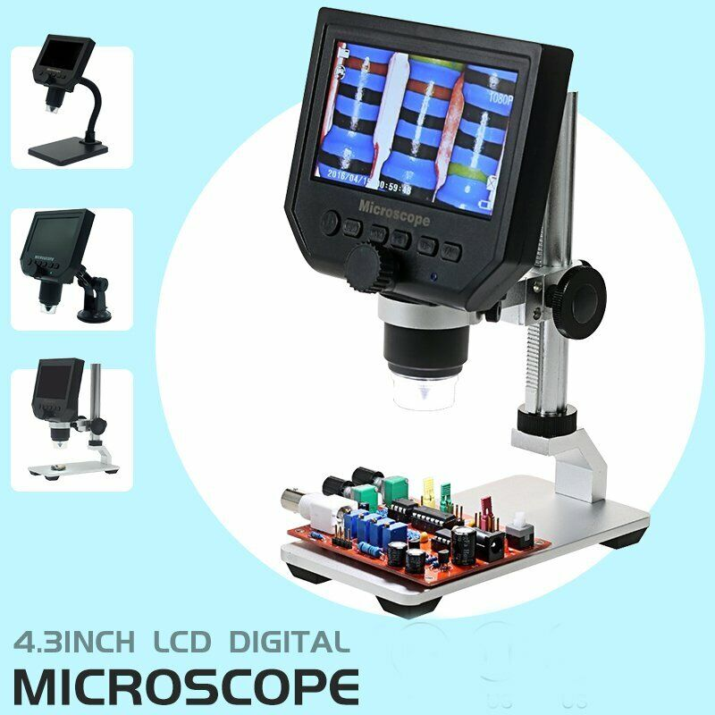 """Portable 4.3"""" 1080P 600X LCD Monitor Electronic Digital Microscope LED Magnifier"""