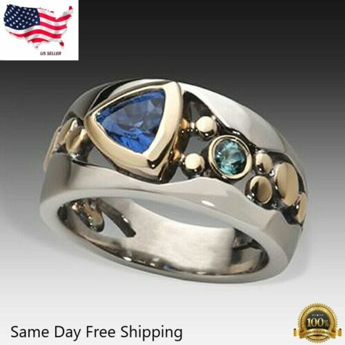 Elegant Two Tone 925 Silver Rings for Women Blue Sapphire Ring Size 6-10