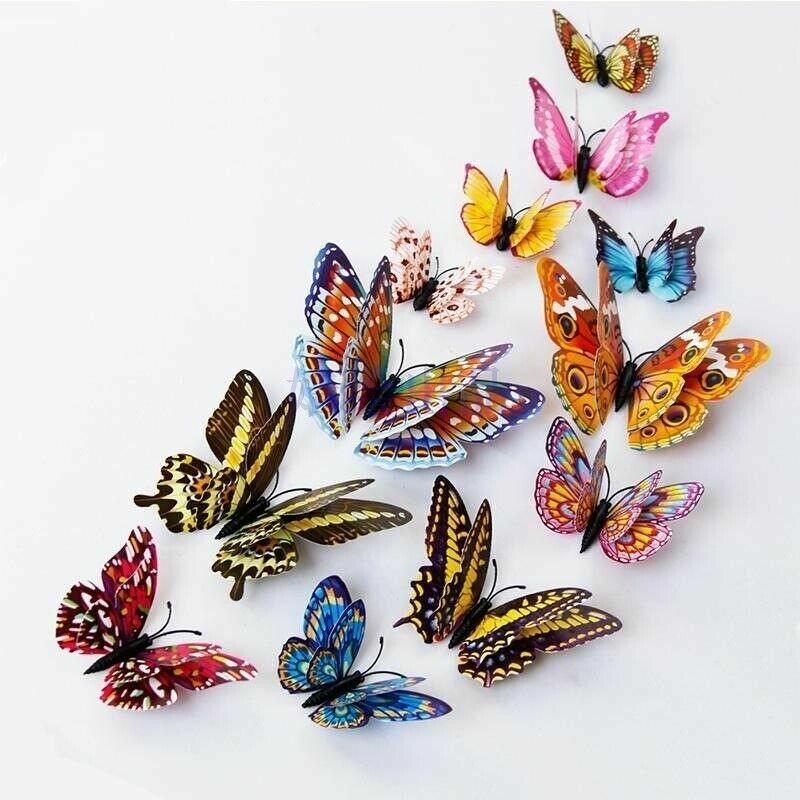12pcs Butterfly Fridge Magnets Kitchen Magnets Refrigerator