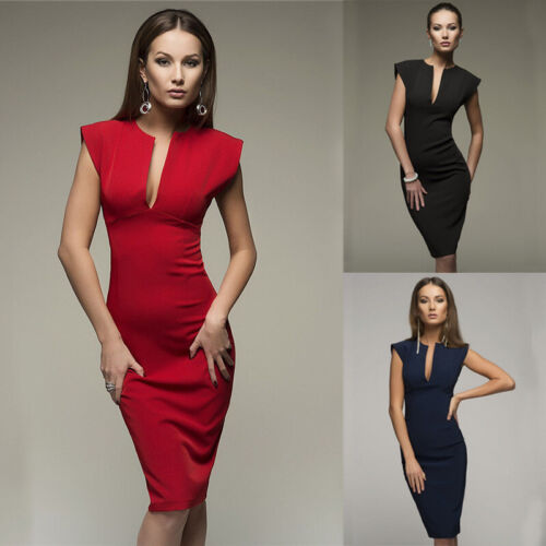 Women Summer Short Sleeve Deep V Neck Solid Tunic Split Pencil Formal Wrap Dress Clothing, Shoes & Accessories