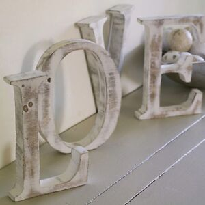 Large shabby chic vintage whitewash wood love letters - Vintage and chic love ...