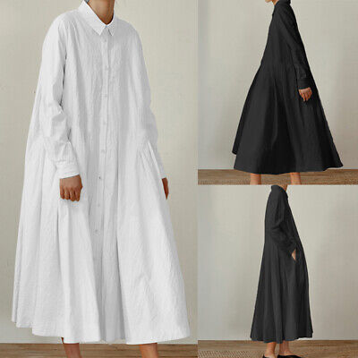 Womens Baggy Swing Casual Shirt Dress Long Sleeve Plain Maxi Kaftan Abaya Jilbab