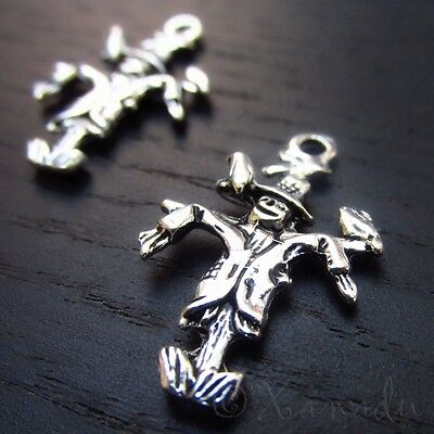 Scarecrow 26mm Wholesale Silver Plated Halloween Charms C1132 - 10, 20 Or 50PCs - Halloween Charms Wholesale