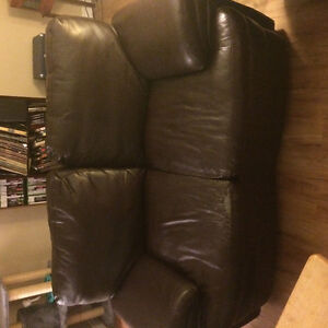 ( FREE!) Brown Leather Couch And love seat